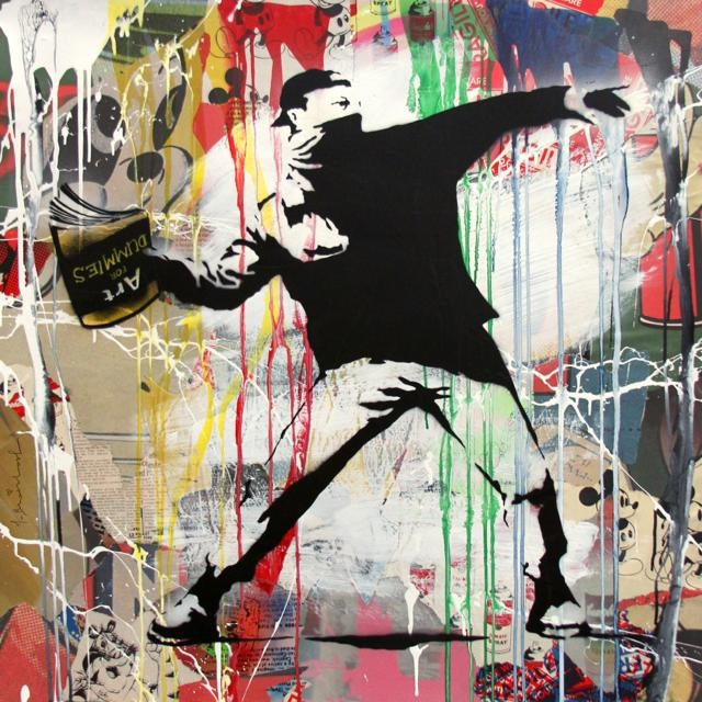 th_Banksy Thrower - Stencil and Mixed Media on Paper