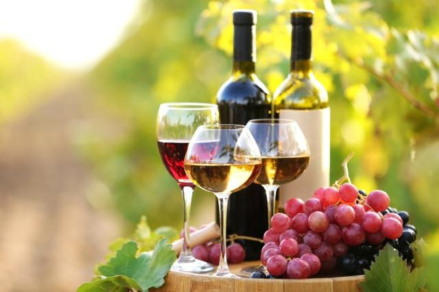 Tasty wine on wooden barrel on grape plantation background
