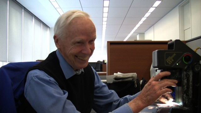 "Bill Cunningham editing film on a monitor at his desk at The New York Times, from the feature-length documentary, ""Bill Cunningham New York,"" ( 2010),  directed by Richard Press and produced by Philip Gefter.  TO BE USED ONLY WITH PRESS AND PROMOTIONAL COVERAGE OF THE FILM. NOT TO BE USED FOR ANY OTHER PURPOSE WITHOUT PERMISSION FROM THE FILMMAKERS credit: First Thought Films Contact Philip Gefter: philipgefter@gmail.com"