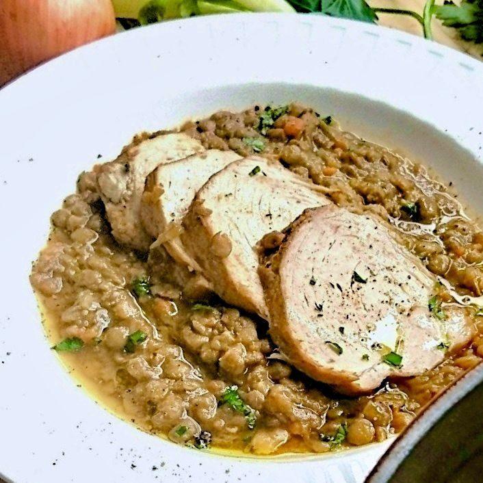 幸福を呼ぶ豚肉とレンズ豆の煮込みのレシピ