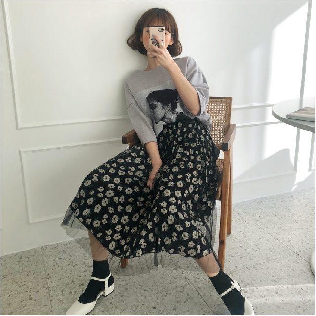 2019春小花柄スカートをオンナっぽく着こなすコツ