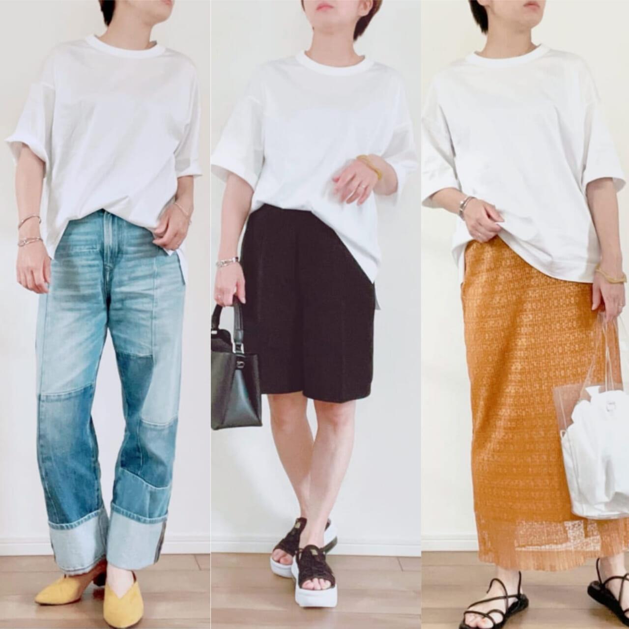 夏のデイリーコーデに必須ユニクロ+j絶品白tシャツ